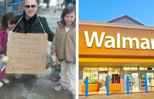man standing with sign walmart feat good (1)