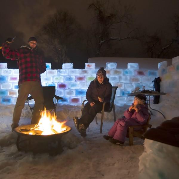 ice fort in backyard
