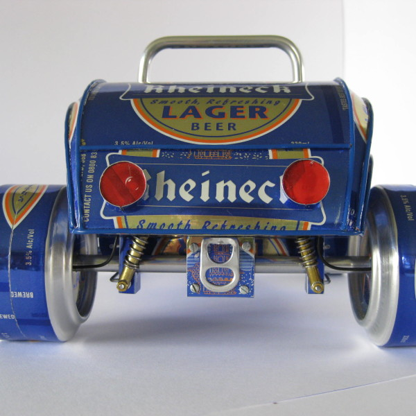 car models out of beer cans