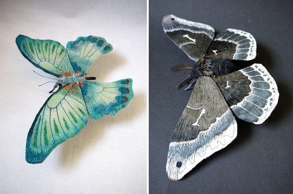 Giant Life-Like Moths And Butterflies Made Of Embroidered Fabric by Yumi Okita