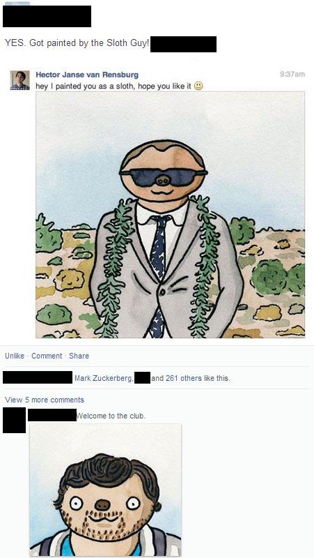 Painting people on Facebook as sloths