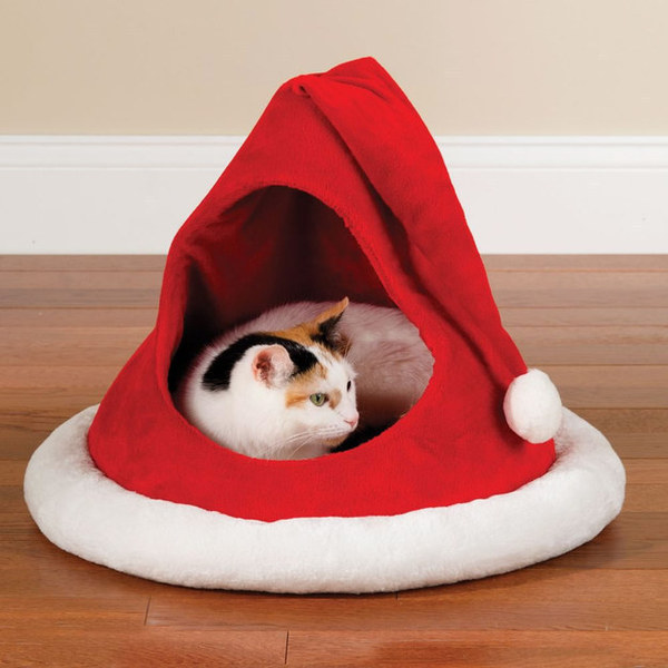 Cat Christmas Hat Bed