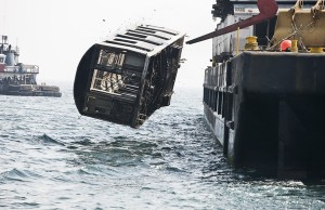 Subway Cars being dumped into the ocean