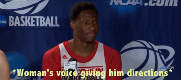 College Basketball Player mic slip