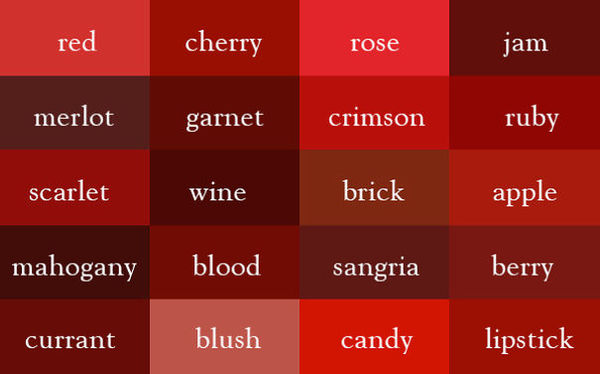 ultimate color chart - red