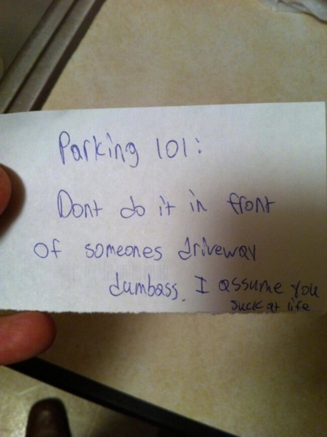 hilarious parking notes 1