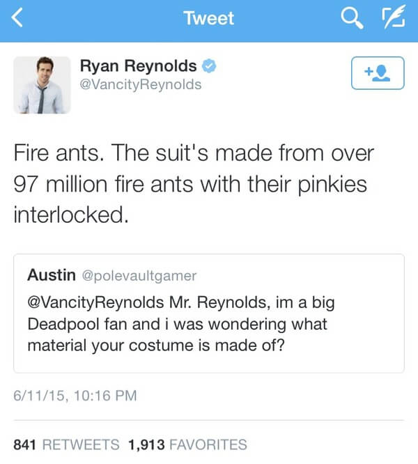 Ryan Reybolds twitter is gold 9