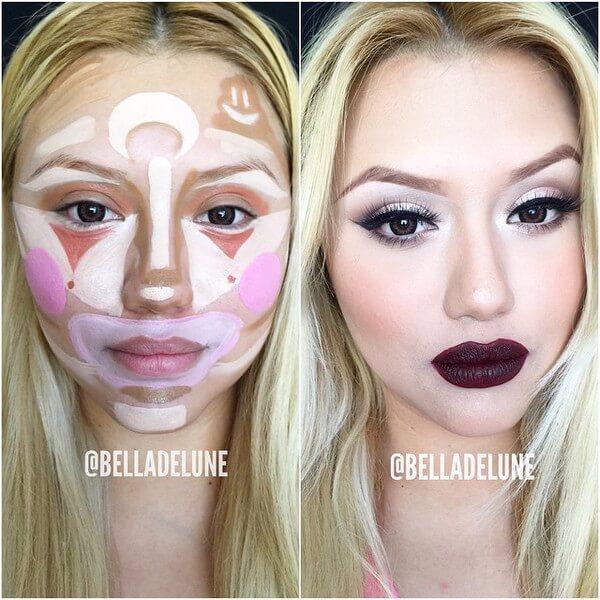 clown contouring makeup 1