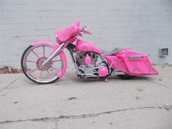 custom pink motorcycle to honor wife 3
