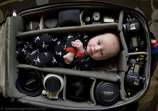 portraits of babies in camera bags 2