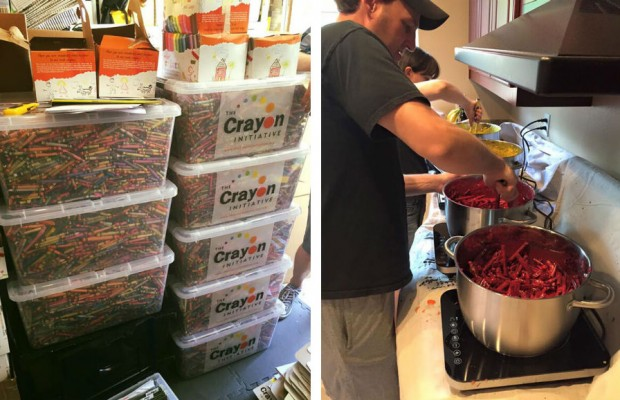 this dad found a brilliant way to reuse leftover crayons from