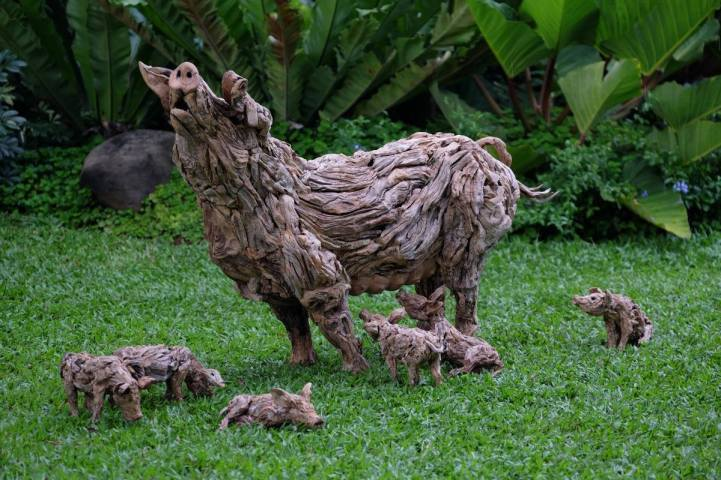 drifted wood turned into animal sculptures 9
