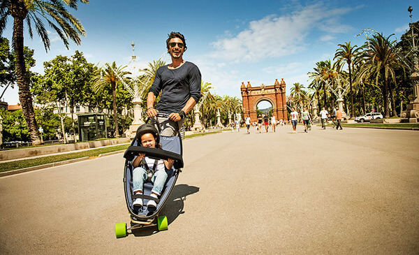kids and parents will definitely enjoy this longboard stroller