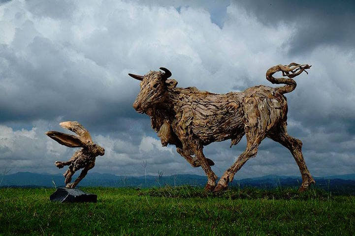 drifted wood turned into animal sculptures 3