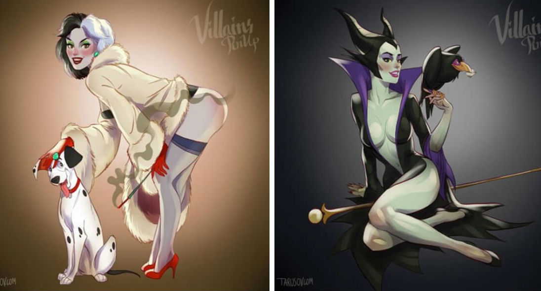 disney villians pin ups
