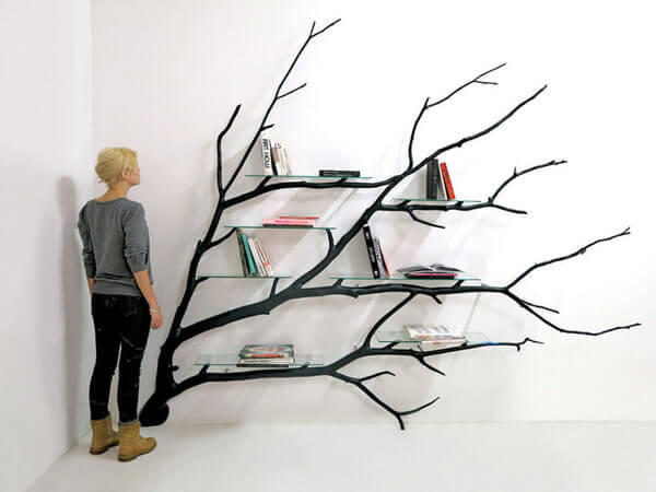 Unique Bookshelf Tree Given New Lifeturning It To A Unique Bookshelf