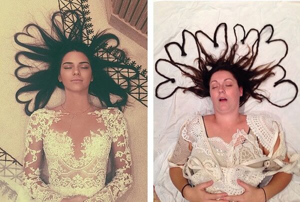 Woman Recreate Popular Celebrity Instagram Photos 1