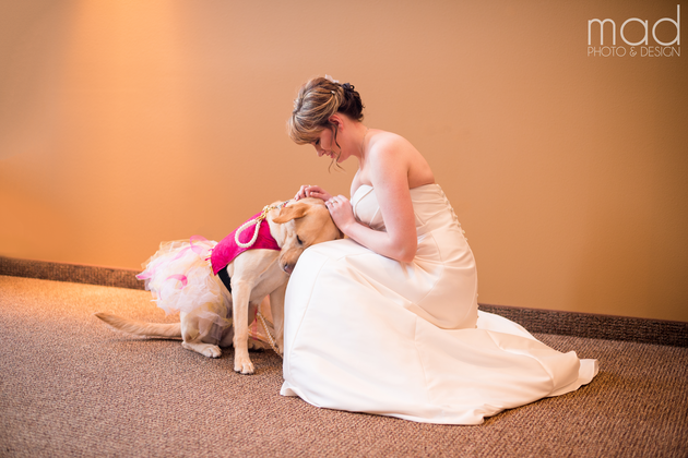 bride and her service dog
