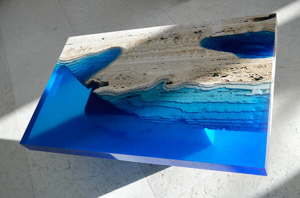 Cut Travertine lagoon tables 2