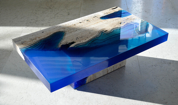 Cut Travertine lagoon tables 3