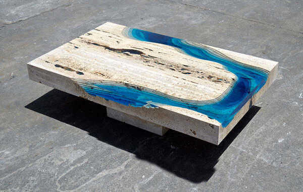 Cut Travertine lagoon tables 7
