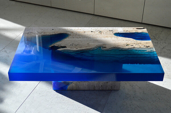 Cut Travertine lagoon tables 8