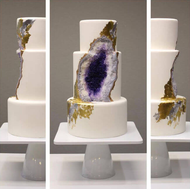 Wedding Cake Made From Edible Geode Crystals 1