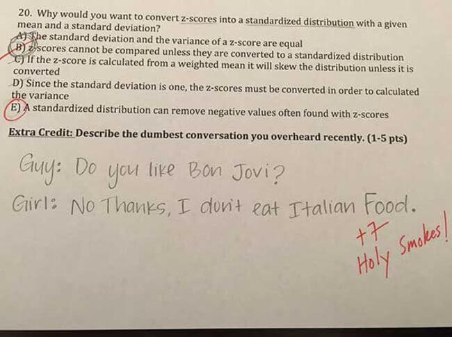 funny extra credit questions 6