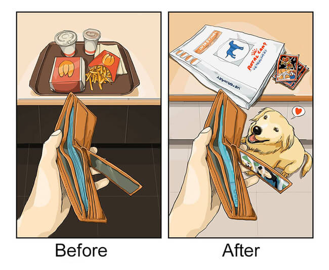 life before and after getting dog 5