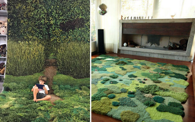 unique wool rug feat
