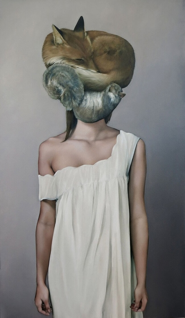 Mysteriously surreal paintings of faceless women shadows by nature and