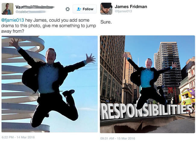 funny photoshop requests - jumping from something