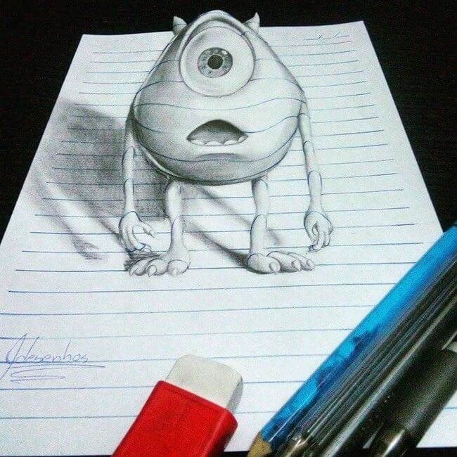 15 year old artist creates stuning 3d notebook drawings for Disegni tridimensionali facili