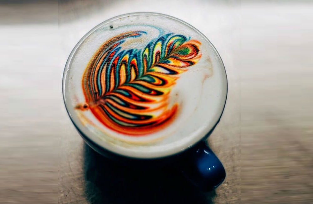Colorful Latte Art Using Food Dye
