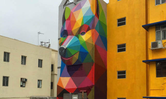 mural of a bear popping out of wall 6