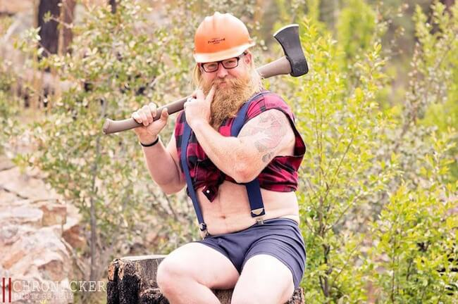 Bearded Man Playfully Pin-Up Calendar Photos 8