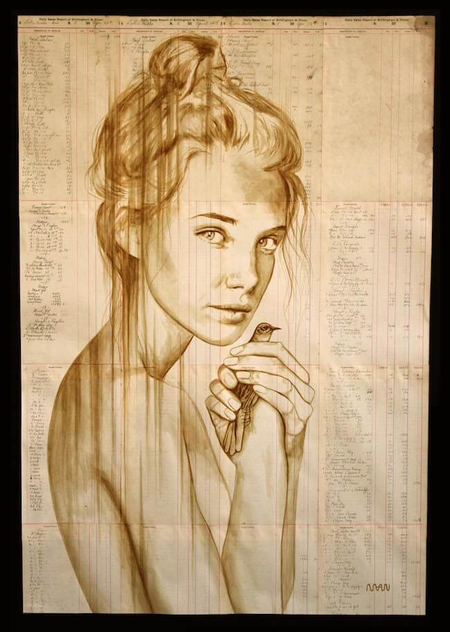 Stunning Portraits On Vintage Paper With Coffee (1)