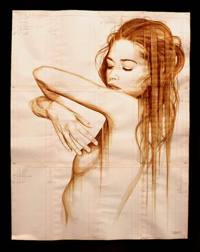 artist paints stunning portraits on vintage paper with coffee. Black Bedroom Furniture Sets. Home Design Ideas
