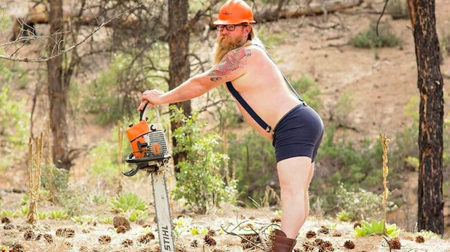 Bearded Man Playfully Pin-Up Calendar Photos 1
