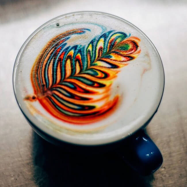 Colorful Latte Art Using Food Dye 1