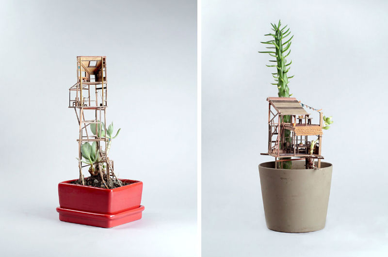 miniature treehouse sculptures feat
