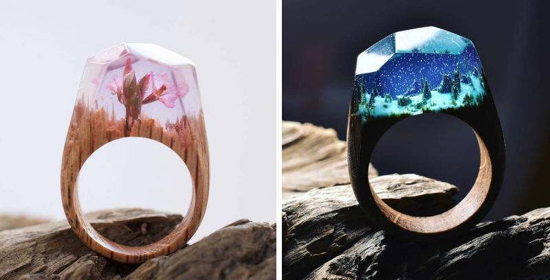 miniature wood rings feat