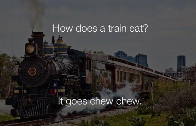 lmao funny jokes - how does a train eat19