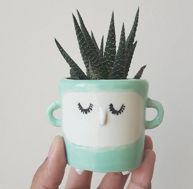 Quirky Ceramic Face Pots 5