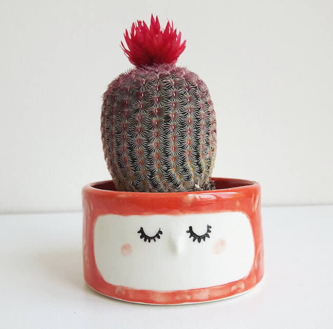 Quirky Ceramic Face Pots 3