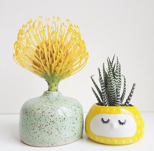 Quirky Ceramic Face Pots 7