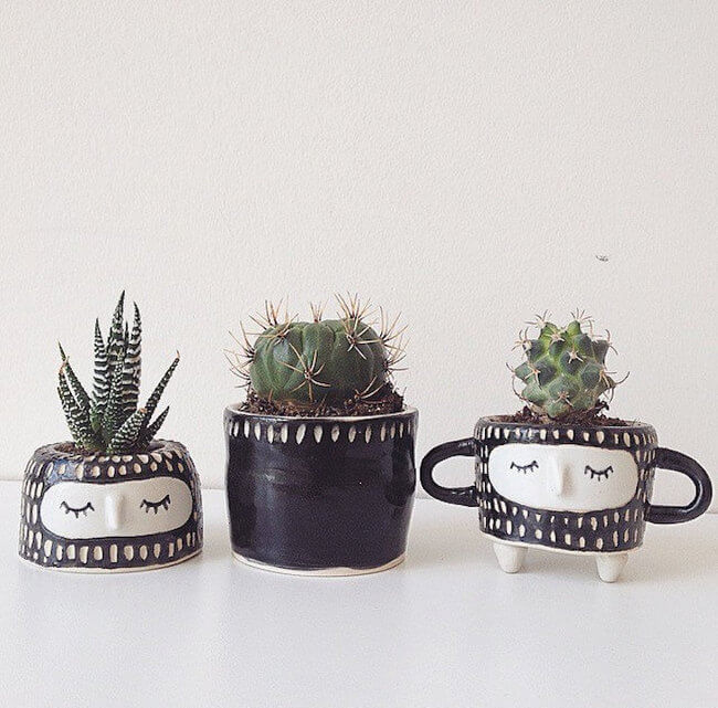 Quirky Ceramic Face Pots 9