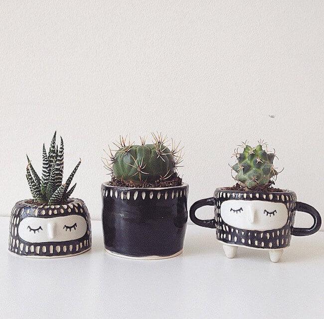 Quirky Ceramic Face Pots 9