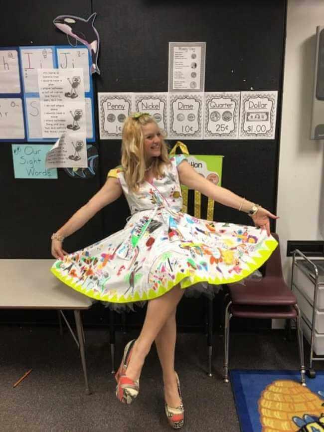 teacher wears dress made of kids art work 9