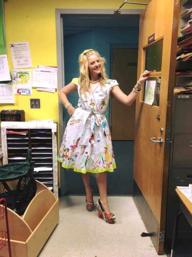 teacher wears dress made of kids art work 10